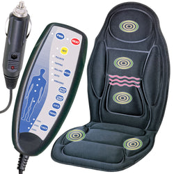 Heated Massage Chair - Remote Control Seat and Back Massager Cushion