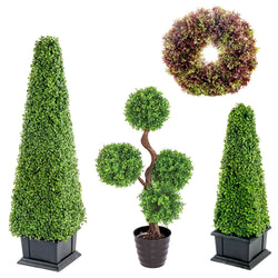 Artificial Potted Pot Plant Boxwood Box Topiary Tower Fake Plastic Imitation