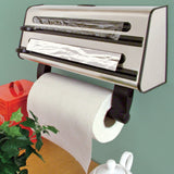 3 In 1 Triple Roll Dispenser For Paper Kitchen Towel, Cling Film And Aluminium Foil