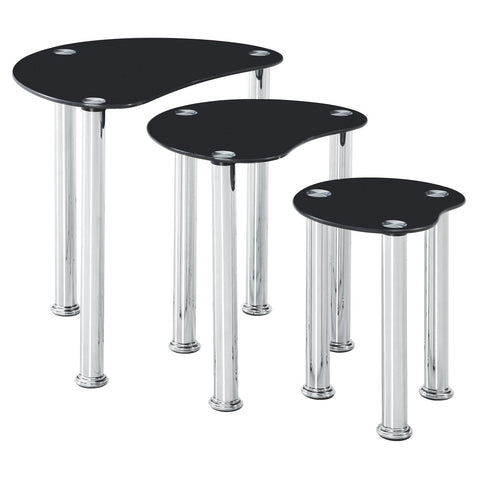 Coffee Nesting Tables Table Glass Stainless Steel Black Living Room Occasional