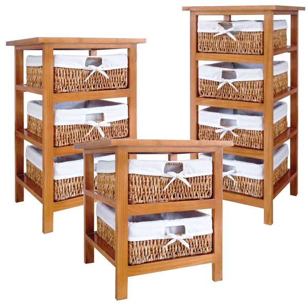 Basket Four Drawer Wooden Storage Unit Tower Chest Wood Cabinet Fabric Wicker
