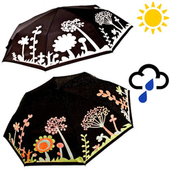 Ladies Flower And Tree Design Colour Changing Folding Umbrella - Compact Aluminium Frame