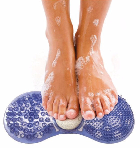 3-in-1 Foot Care Centre With Suction, Scrub And Clean Feet In Shower Or Bath - Pumice Stone Included