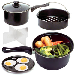 "Multi Use Pan: 8"" Saucepan With 4 Way Dividers, Vegetable Steamer, Egg Poacher. Vented Glass Lid"