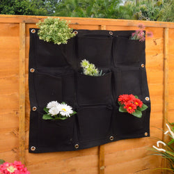 Black Living Wall Flower and Plant Holder / Hanger With 9 Pockets