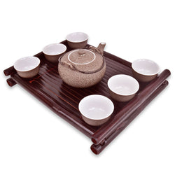 Chinese Tea Cup Set With Teapot & Bamboo Wooden Tray: Ceramic With 6 Handleless Teacups