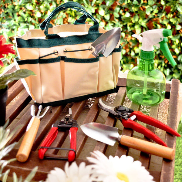 7pc Garden Tool Set / Gardening Kit With Canvas Bag Mini Fork Trowel Secateurs Spray