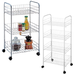 Kitchen Storage Trolley Baskets 3 Tier Chrome Wheels Black Fruit Vegetables