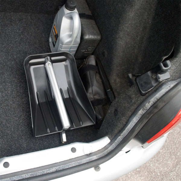 Lightweight Aluminium Telescopic Car Shovel With Rigid Plastic Tray That Folds To Fit In Car Boot