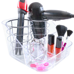 Chrome and Acrylic Hair Dryer and Straightener Tongs Storage Holder - Mount Stand Tidy Organiser