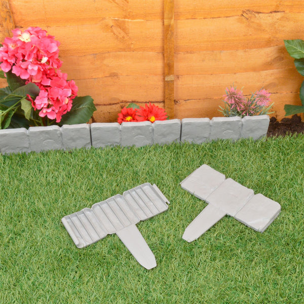 10 Piece Stone Effect Hammer In Lawn Edging Border