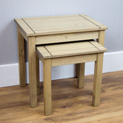 Panama Oak Effect Pair of Pine Nesting Tables