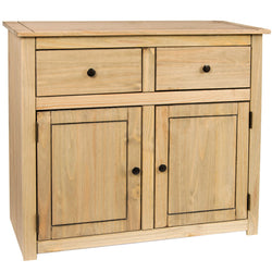 Panama Oak Effect Pine Sideboard With 2 Drawers & Cupboard