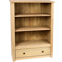 Panama Oak Effect Pine Bookcase With 3 Shelves & Drawer