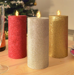 3 LED Church Candles in Real Wax: Flameless Electric Flickering - Red, Gold and Silver Glittery Finish