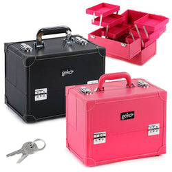 Cosmetic Makeup Organiser Storage Case: Luggage Style Beautician's Vanity Storage Box - Ideal For Nail Art, Hairdressing, Beauty Faux Leather - Pink Or Black