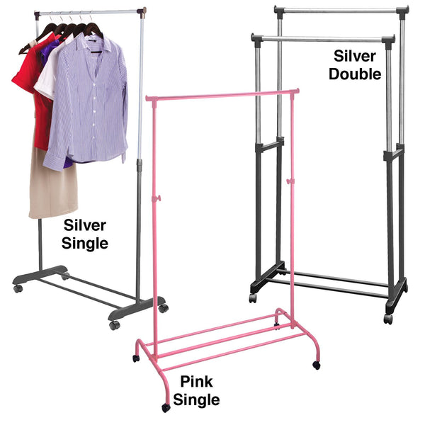 Garment Rack Rail Storage Clothes Clothing Costumes Single Pink Metal Shoe