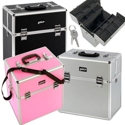 Cosmetic Makeup Organiser Storage Case: Aluminium Luggage Flight Case Style Beautician's Vanity Storage Box - Ideal For Nail Art, Hairdressing, Beauty - Pink, Silver Or Black