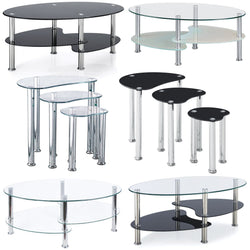 Coffee Table Glass Top Surface Stainless Steel Black Living Room Furniture