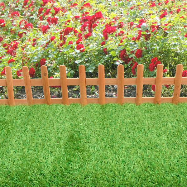 Pack of 2 Wooden Picket Fence Panels - Outdoor Garden Flowerbed Edging Borders - Ready Made Natural Wood For Flower Beds and Paths