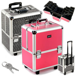 Cosmetic Makeup Organiser Storage Trolley: Aluminium Wheeled Luggage Style Beautician's Vanity Case / Storage Box - Ideal For Nail Art, Hairdressing, Beauty - Pink Or Silver