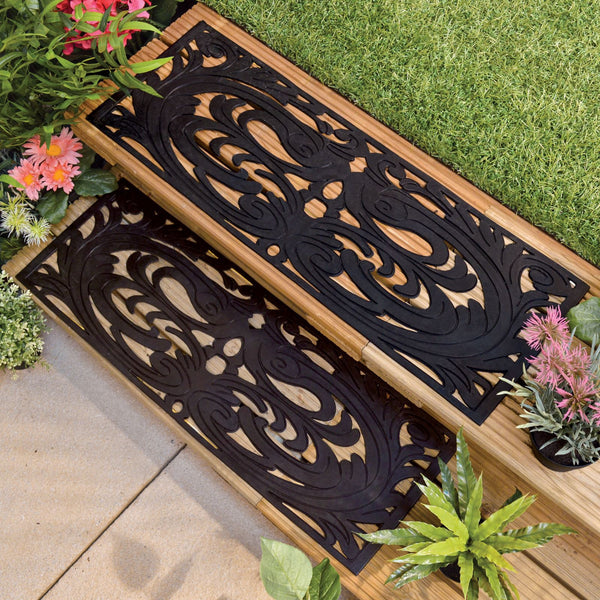 Non Slip Set of 2 Garden Step Rubber Tread Grip Mats - Weatherproof