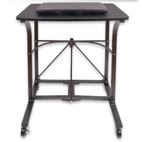 Black Folding Laptop Trolley With Wheels - Perfect for Limited Space