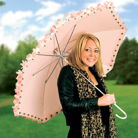 Pink Rosebud Umbrella With Hook Handle and Ground Spike - Automatic Opening Mechanism