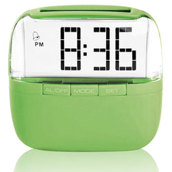 Eco Friendly Solar Panel Powered Alarm Clock Radio Dual Power Battery Operated