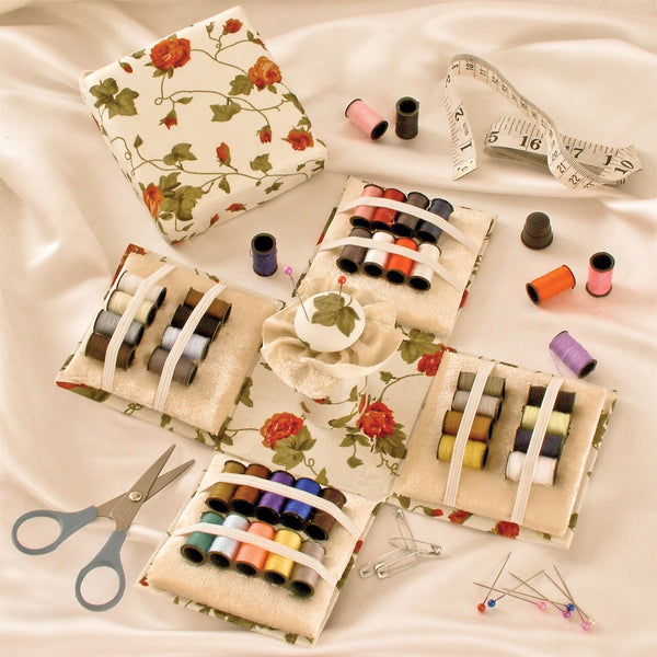 70 Piece Sewing Set - Foldable Cube With Cotton Thread, Needles, Pins, Tape Measure, Scissors