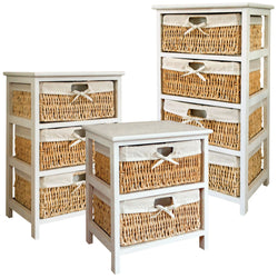 Basket Four Drawer Storage Unit Tower Chest Wood Cabinet White Fabric Wicker
