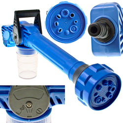 Multi-Functional Garden Hose Attachment With Rotating Nozzle Head And Built-In Fluid Dispenser