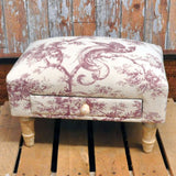 Footstool With Storage Drawer - Cushioned Padded Fabric Foot Stool Rest With Wooden Legs