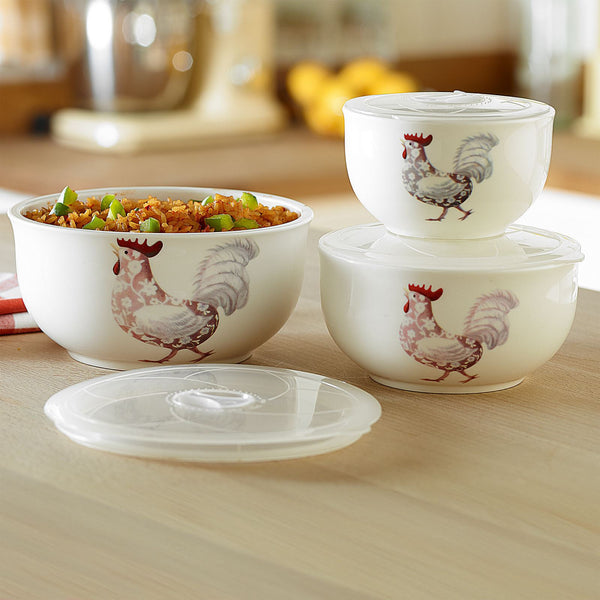 3 Ceramic Bowls with Lids - Tubs Ideal For Picnic or Lunch - Suitable for Microwave Fridge or Freezer - 280ml 500ml 800ml