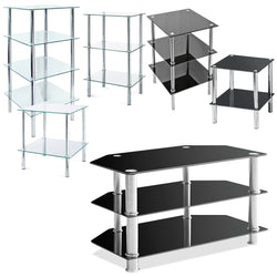 Glass Shelf Unit Black Two Tier Stainless Steel Living Room Bedroom Furniture
