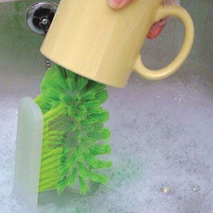 Glass, Cup and Baby Bottle Scrubbing Brush for WASHING UP Cleaning Dishes - Attaches to Kitchen Sink
