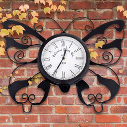 Black Decorative Metal Butterfly Outdoor / Garden Wall Clock