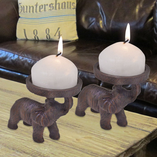 2 Elephant Church Candle Holders: African Indian Hindu Ornament Decoration