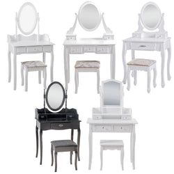 Dressing Table Mirror Stool Seat Desk 3 Drawers Unit Bedroom Jewellery Cabinet