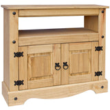 TV Unit Corner Furniture Living Room Waxed Pine Entertainment Shelf Cupboard