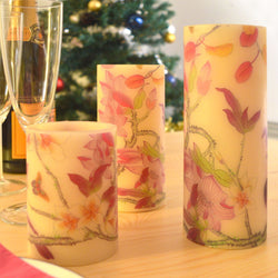 3 Electronic Flickering LED Candles with Flowers & Butterflies Design: Made from Wax - Cream