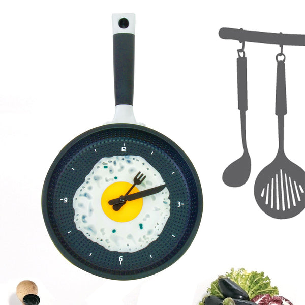 Analogue Wall Hanging Kitchen Frying Pan Egg Clock