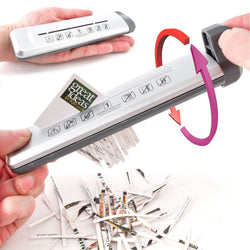 Handheld Mini Paper Shredder: Portable Compact Manual Hand Operated Strip Shredding Machine