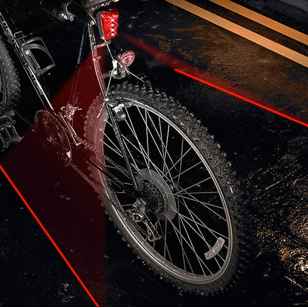 Bicycle / Bike Front Light  - Red LED Cycling Safety Lamp also Projects Cycle Lane onto Road
