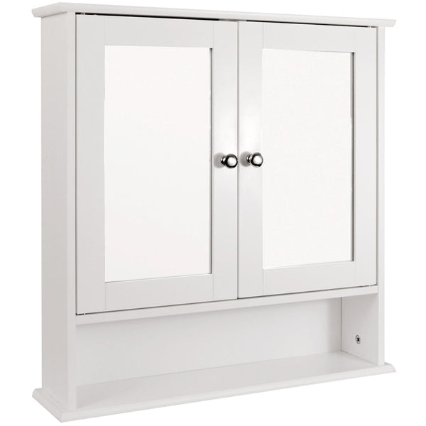 White Bathroom Wall Cabinet Cupboard Mirror Mirrored Doors First Aid Over Basin