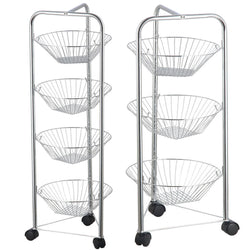 Fruit Vegetable Storage Baskets 4 Tier Chrome Wheel Wheels Trolley Kitchen