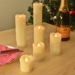 6 Electronic Dripping LED Church Candles  - Cream - Real Wax - Flickering Warm White Lights