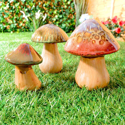 Set of 3 Ceramic Mushrooms / Pottery Toadstools - Garden / Indoor / Outdoor Ornaments