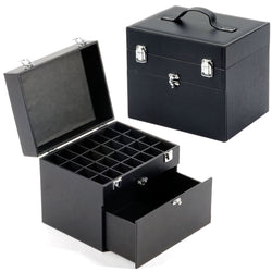 Compact Cosmetic Organiser Storage Case: Luggage Style - Black Faux Leather