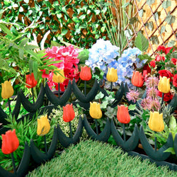 Tulip Lawn / Flowerbed Border - Garden Outdoor Edging Green with Yellow and Red Flowers